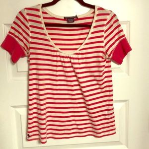 Ralph Lauren Red and White Striped Shirt (Size- M)